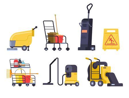 Cleaning equipment machine isolated set. Vector flat graphic design cartoon illustration Ilustracja