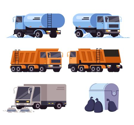 Cleaning washing street cars machine vehicle isolated set. Vector flat graphic design cartoon illustration