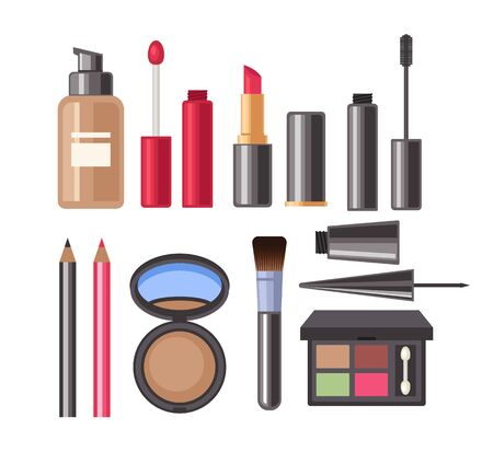 Face make up cosmetic isolated set. Vector flat graphic design cartoon illustration