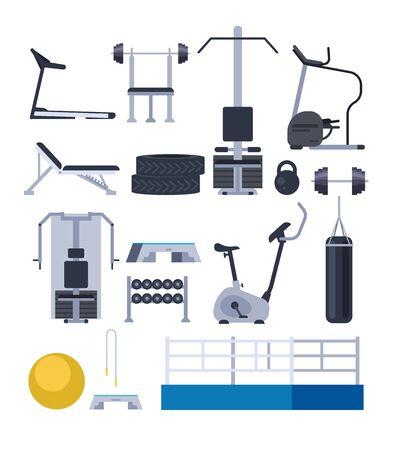 Gym training apparatus equipment isolated set. Vector flat graphic design cartoon illustration Ilustracja