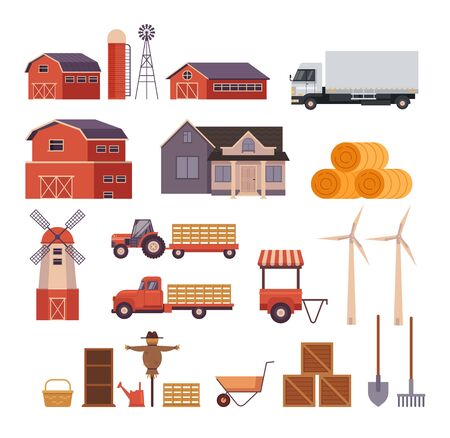 Farm rural countryside isolated set. Vector flat graphic design cartoon illustration Иллюстрация
