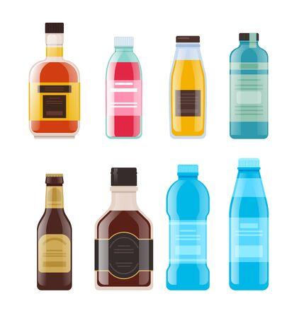 Alcohol, water, juice bottle isolated set. Vector flat graphic design cartoon illustration