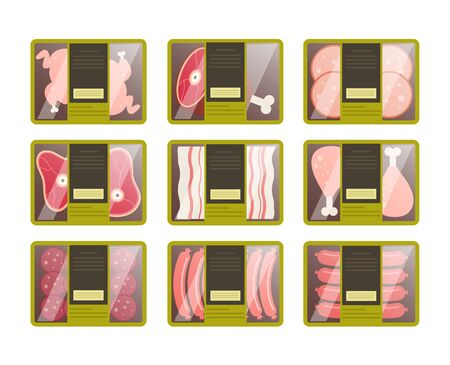 Raw meat packaging isolated set. Vector flat graphic design cartoon illustration