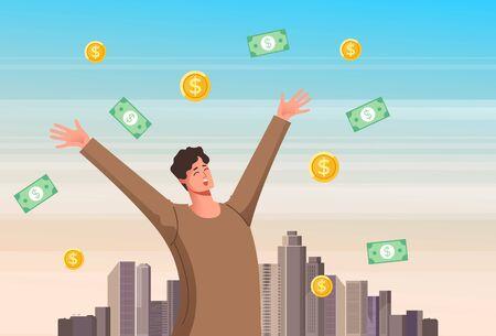 Man winner standing under money rain. Vector flat cartoon graphic design illustration
