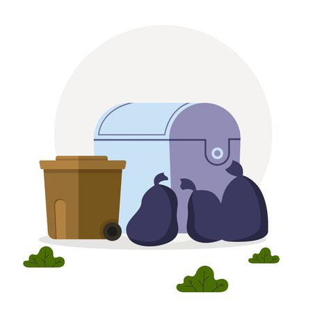 Trash garbage can bags isolated concept. Vector flat cartoon graphic design illustration
