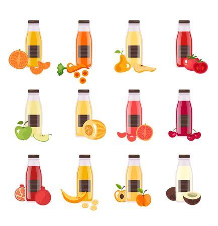 Fruit vegetable juice in bottle isolated set. Vector flat cartoon graphic design illustration