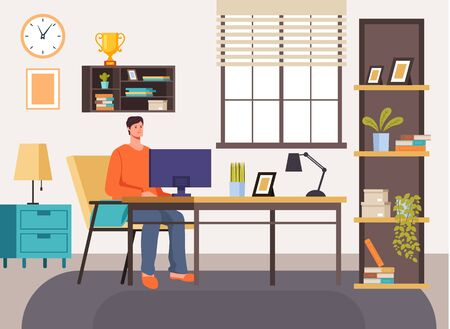 Man freelancer character working at home concept. Vector flat cartoon graphic design illustration
