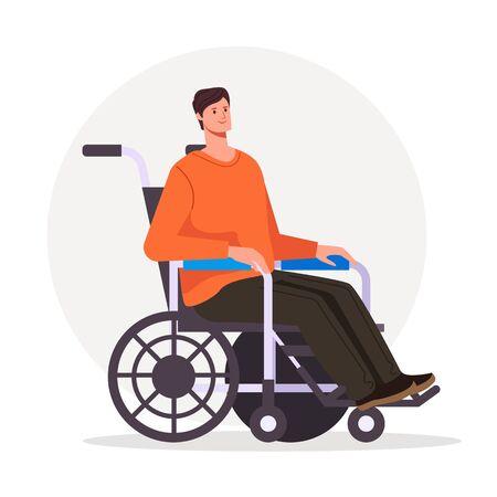 Man character sitting on wheelchair. Vector flat cartoon graphic design illustration