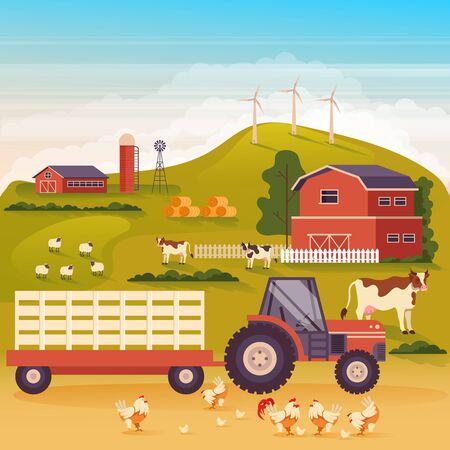 Farmland landscape countryside concept. Vector flat cartoon graphic design illustration Ilustracja