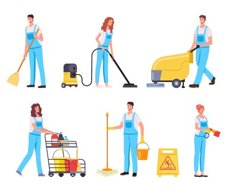 Cleaning people team characters isolated set. Vector flat cartoon graphic design illustration Ilustracja
