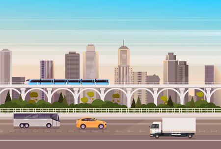 City transport car, bus, train concept. Vector flat cartoon graphic design illustration Ilustracja