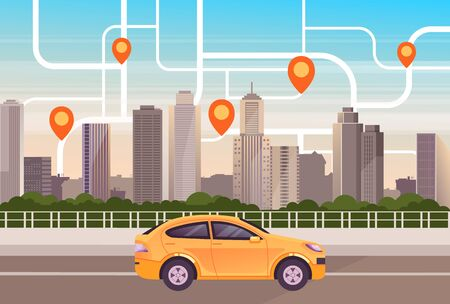 City town taxi cab mobile app concept. Vector flat cartoon graphic design illustration