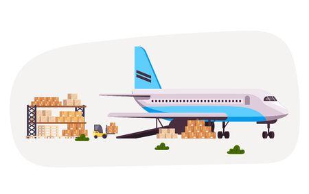 Cargo airplane logistics concept. Vector flat cartoon graphic design illustration
