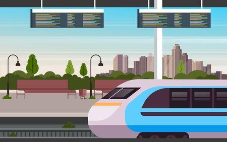 Railway train station concept. Vector flat graphic design cartoon illustration