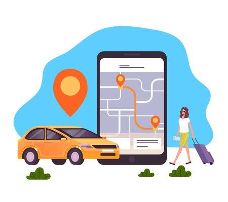 Taxi mobile app concept. Vector flat graphic design cartoon illustration