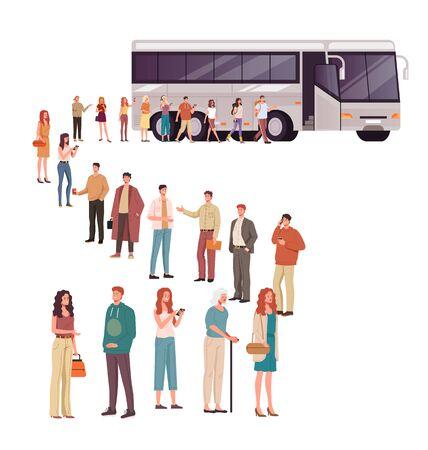 People tourists boarding bus. Vector flat cartoon graphic design illustration Ilustracja