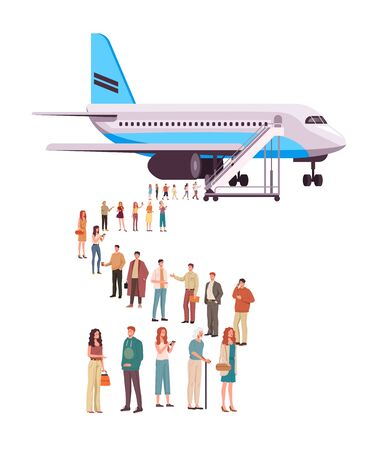 People character boarding airplane concept. Vector flat cartoon graphic design illustration