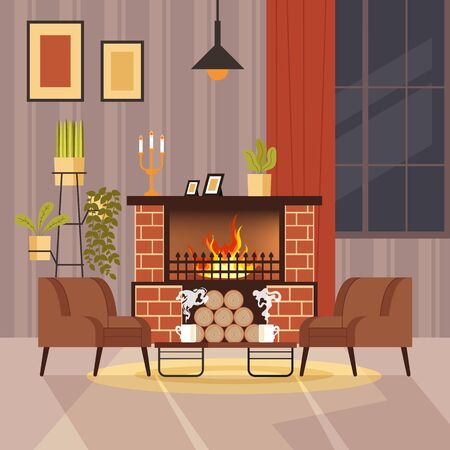 Home interior with fireplace concept. Vector flat cartoon graphic design illustration