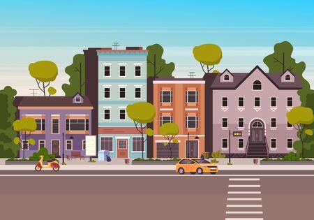 Small city town street concept. Vector flat graphic design cartoon illustration