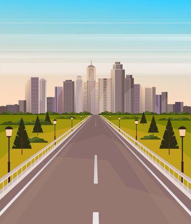 City road town concept. Vector flat cartoon graphic design illustration