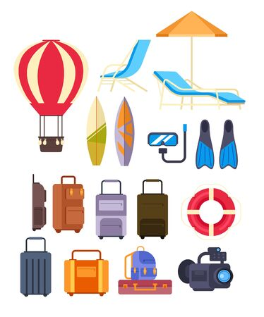 Travel summer tourism concept isolated set. Vector flat graphic design cartoon illustration 版權商用圖片 - 147701217