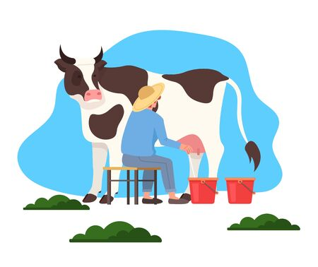 Man farmer milk cow. Vector flat graphic design illustration Illustration