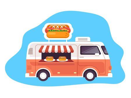 Fast food hot dog truck illustration concept. Vector flat graphic design illustration Illustration