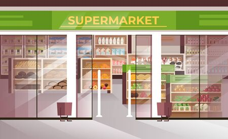 Outside food supermarket concept. Vector flat graphic design illustration