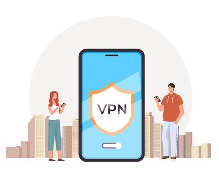 VPN mobile online internet concept. Vector flat graphic design illustration
