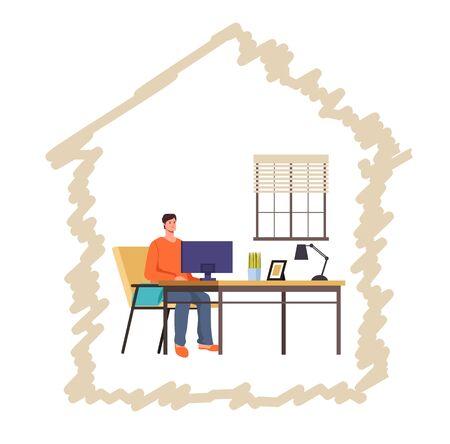 Man freelancer character working home concept. Vector flat graphic design illustration Illustration