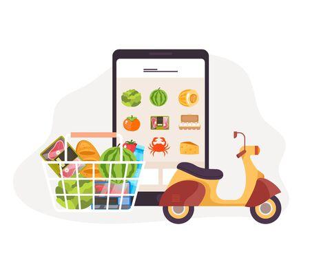 Online internet food order mobile app delivery concept. Vector flat graphic design illustration Illustration