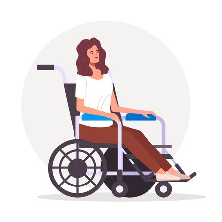 Woman character on wheelchair concept. Vector flat graphic design illustration