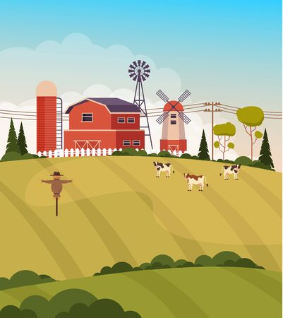 Farmland agriculture meadow concept. Vector flat graphic design illustration