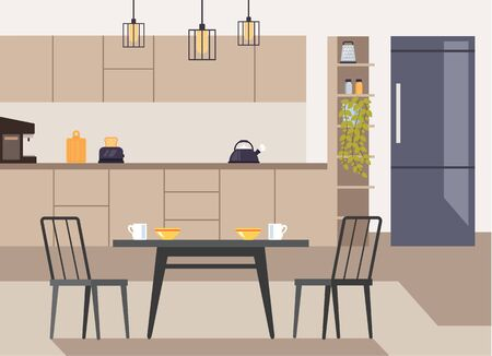 Modern kitchen interior concept. Vector flat graphic design illustration