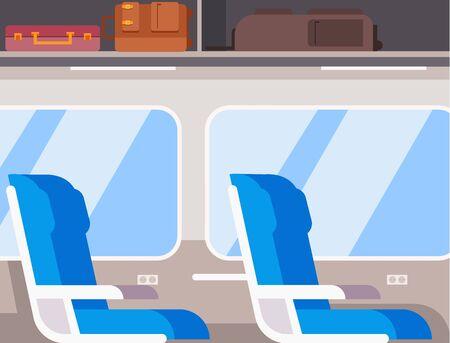Train inside interior concept. Vector flat cartoon graphic design illustration