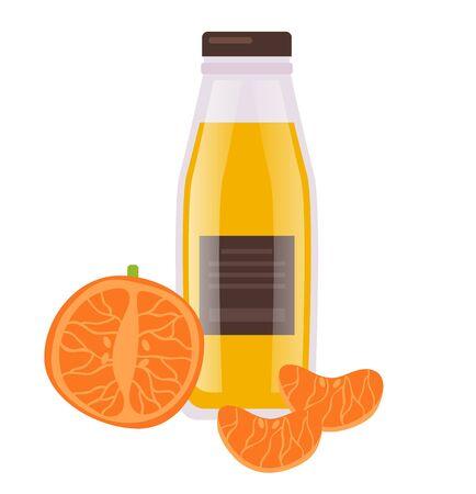 Orange juice bottle. Vector flat cartoon graphic design illustration
