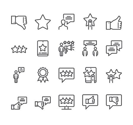 Feedback reviews isolated icon set. Vector flat cartoon graphic design
