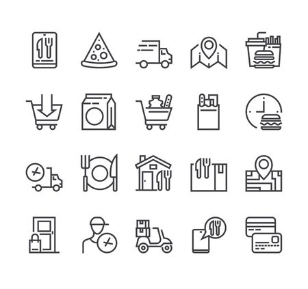 Food delivery isolated icon set. Vector flat cartoon graphic design