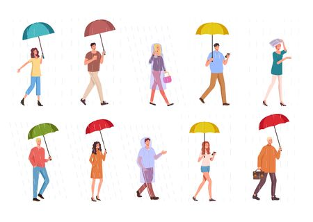 People walking under rain isolated set. Vector flat cartoon graphic design illustration
