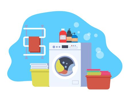 Washing laundry clothes isolated concept. Vector flat cartoon graphic design illustration