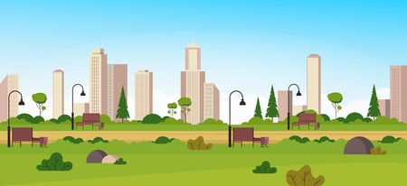 Empty city green park concept. Vector flat cartoon graphic design illustration