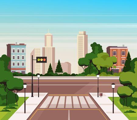 City cross road street concept. Vector flat cartoon graphic design illustration Illustration