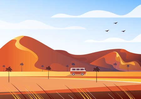 Desert travel bus tourism concept. Vector flat graphic design illustration
