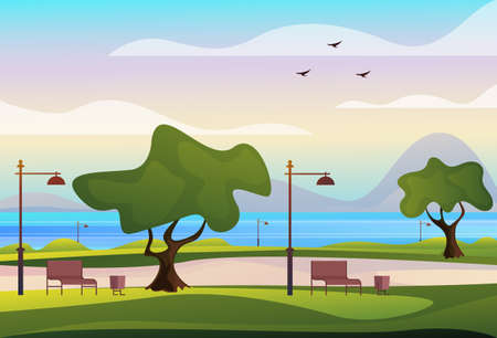 Empty public city park concept. Vector flat graphic design illustration