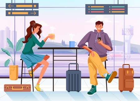 People man woman tourists travelers characters waiting arrival airplane concept. Vector flat graphic design cartoon illustration Ilustración de vector