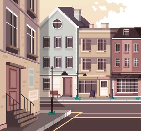 Retro old style Europe city town street concept. Vector flat graphic design cartoon illustration