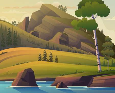 Forest panorama landscape meadows concept. Vector flat graphic design cartoon illustration
