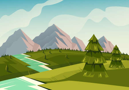 Landscape river nature meadows fir concept. Vector flat graphic design illustration