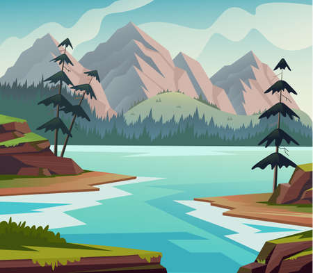Landscape river nature meadows fir pine hills concept. Vector flat graphic design illustration