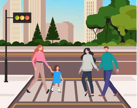 People pedestrian character crossing street. Crosswalk concept. Vector flat graphic design cartoon illustration Illusztráció